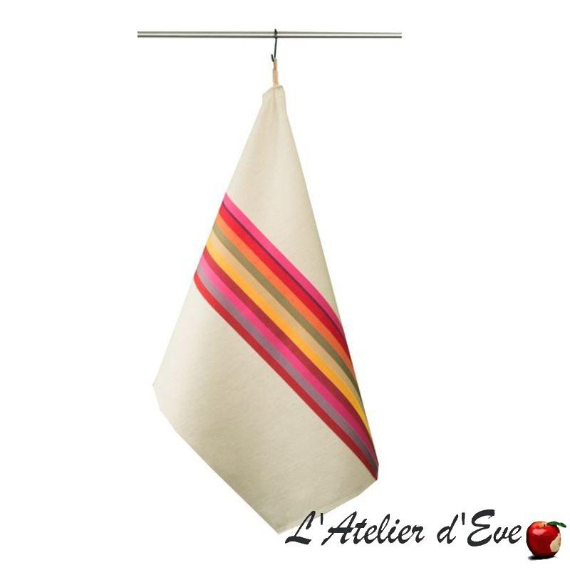 """""""Mauleon fuchsia"""" Torchon toile basque Made in France coton/lin 75x53cm Artiga"""