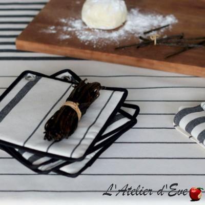 """Sauvelade ecru"" Potholder cotton canvas basque 20x20cm Artiga"