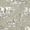 """""""Histoire d'eau """" Fond Gris Coupon 110x70cm toile de jouy ameublement Thevenon"""