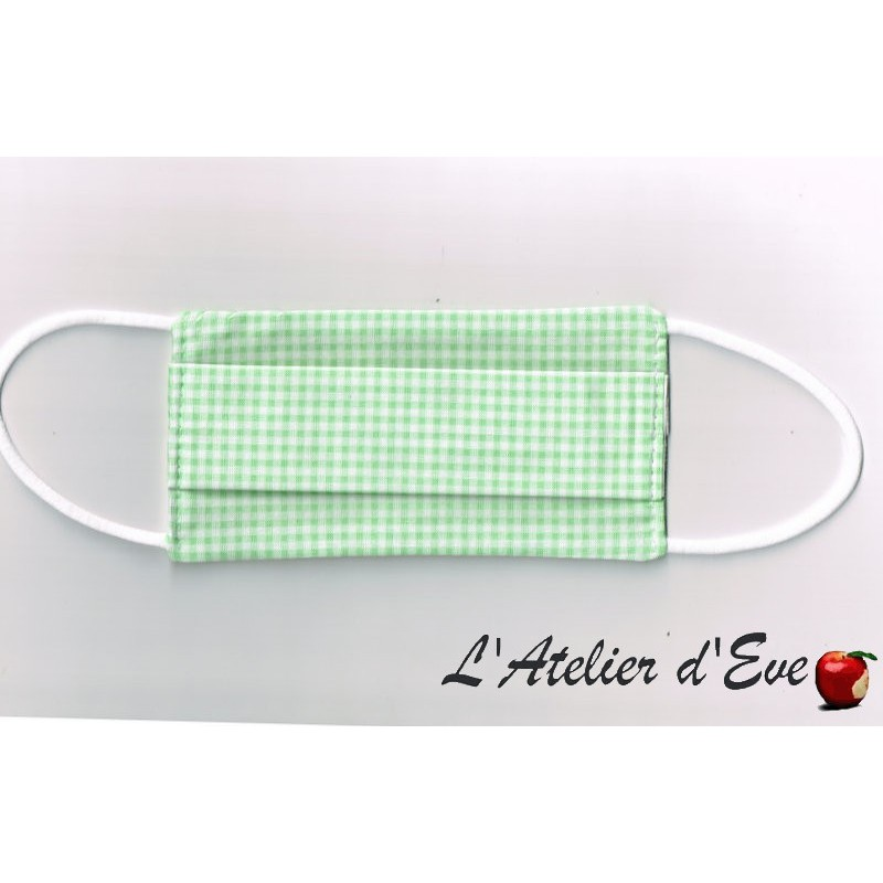 ENFANT Ecomasque carreaux vichy vert clair haute protection tissu spécial respirant Made in France