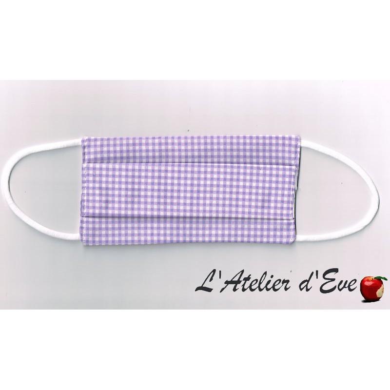 ENFANT Ecomasque vichy petits carreaux mauve haute protection tissu spécial respirant Made in France