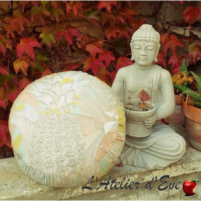"""Zafu"" Love Birds Meditation cushion Made in France L'Atelier d'Eve"