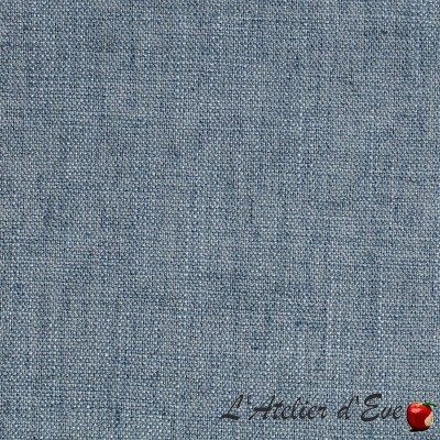 """Blackout linen"" Bleu Stone coupon 110x140cm Blackout fabric linen look Thevenon"