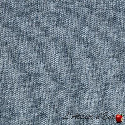 """""""Lin occultant"""" Bleu Stone coupon 110x140cm Tissu occultant aspect lin Thevenon"""