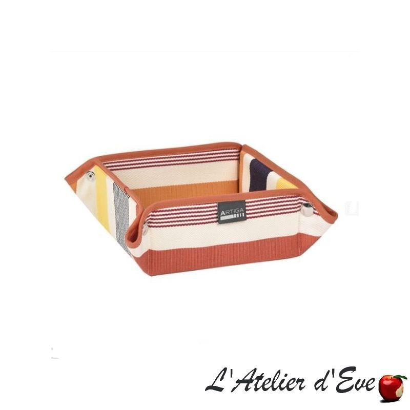 """""""Garlin ocre"""" Panière coton toile basque 8x17x17cm Artiga"""