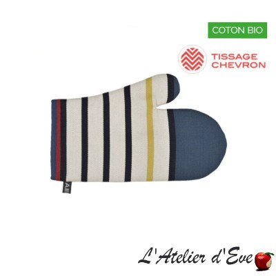"""Blue flavors"" Organic cotton basque canvas mitten 30x19cm Artiga"