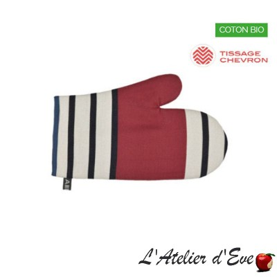 """Red tastes"" Organic cotton mitten basque canvas 30x19cm Artiga"