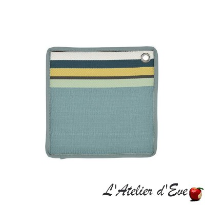 """Mauleon celadon"" Basque cotontoile pot holder 20x20cm Artiga"