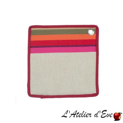 """Mauleon fuchsia"" Cotton / linen pot holder 20x20cm basque canvas Artiga"