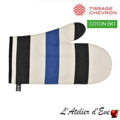 """""""Lacquy bleu"""" Moufle coton bio toile basque 30x19cm Artiga"""