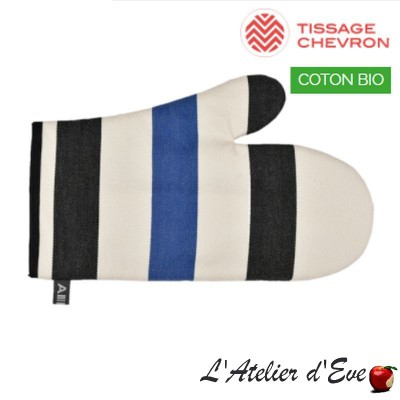 """Lacquy bleu"" Organic cotton mitten basque canvas 30x19cm Artiga"