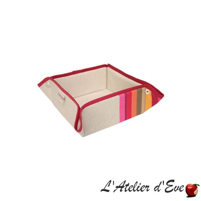"""Mauleon fuchsia"" Panière coton/lin toile basque 8x17x17cm Artiga"