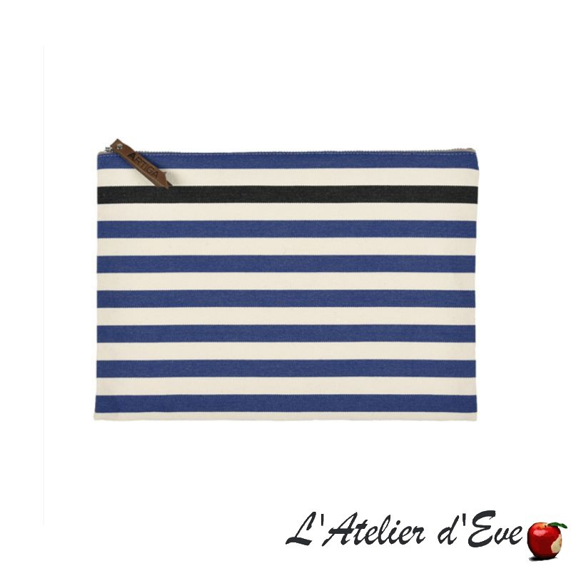 """Lacquy bleu"" Trousse plate grand modèle Artiga Made in France"