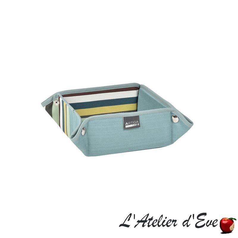 """Mauleon celadon"" Panière coton toile basque 8x17x17cm Artiga"