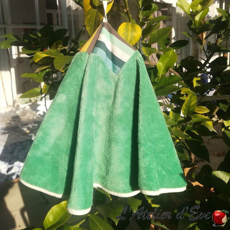 """Mauleon celadon"" Essuie main éponge bambou Made in France Artiga"