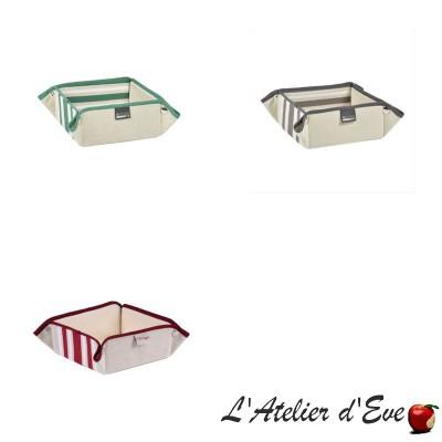 """""""Mauleon fuchsia"""" Cotton / linen basket basque canvas 8x17x17cm Artiga"""