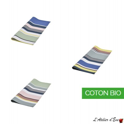 """Aroue"" Basque organic cotton towel Made in France 50x50cm Artiga"