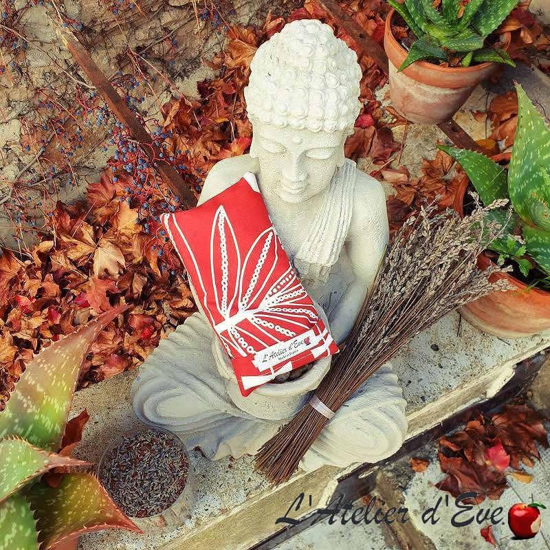 """Coussin relaxant pour les yeux """" Rio rouge"""" Made in France L'Atelier d'Eve"""