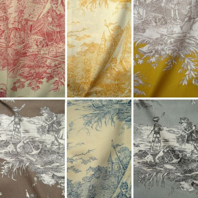 History of water (17 colors) fabric furnishings jouy fabric great width Thévenon