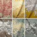History of water (20 colours) roll fabric canvas large jouy Thévenon the room width or half room furniture