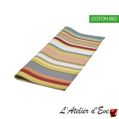 """Garazi"" Organic cotton basque canvas towel Made in France 50x50cm Artiga"