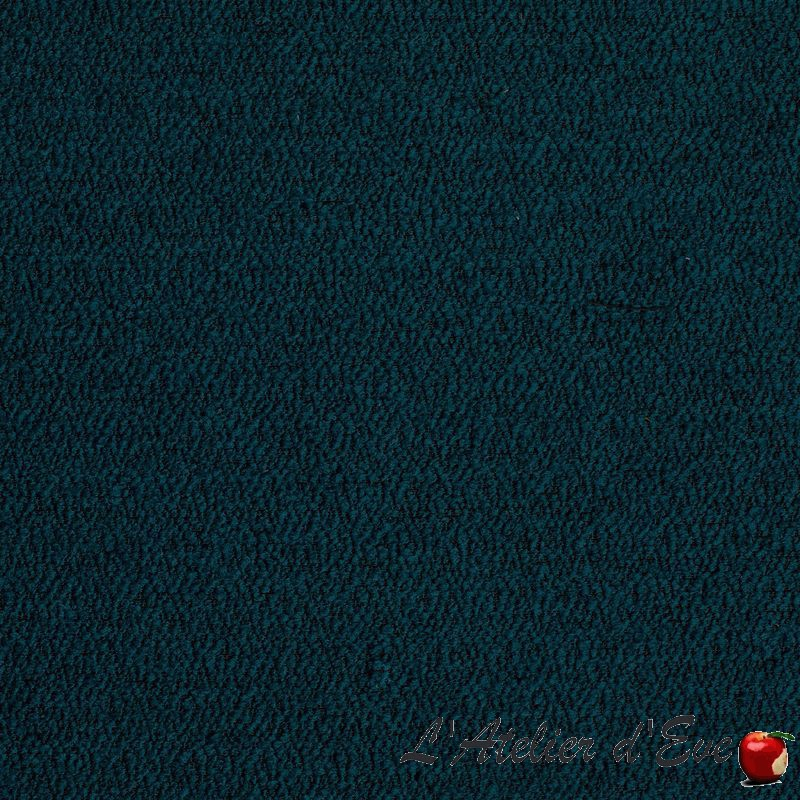 """Bouclette"" Tissu bleu canard jacquard laineux Thevenon"