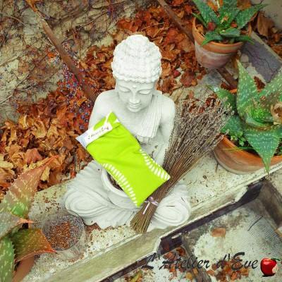 """Coussin relaxant pour les yeux """"Ushuaïa""""vert/gris Made in France L'Atelier d'Eve"""