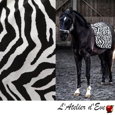 """Africa"" Tissu noir et blanc jacquard velours Casal"