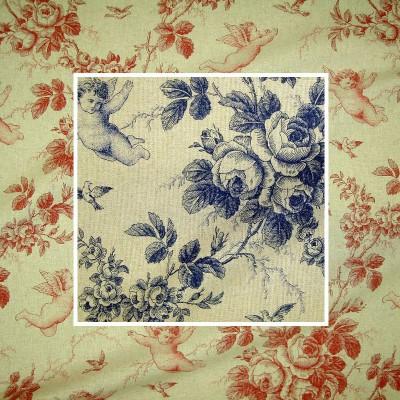 Seraphin (2 coloris) Rouleau tissu ameublement toile de jouy grande largeur aspect lin Thevenon La piece ou demi piece