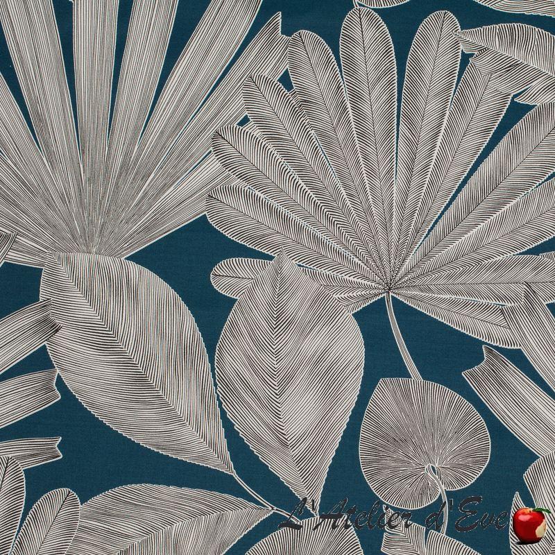 """Panama"" Tissu bleu canard coton fleuri grande largeur Thevenon"