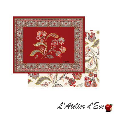 """Bastide rouge"" Reversible quilted Provencal placemat in cotton fabric Valdrôme"