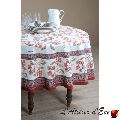"""Bastide rouge"" coton Nappe et carré provençaux Valdrôme Made in France"