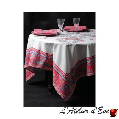 """Haveli framboise"" coton Nappe et carré provençaux Valdrôme Made in France"