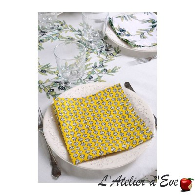 """""""Olives"""" 6 Provencal napkins 50x50cm cotton fabric Valdrôme"""