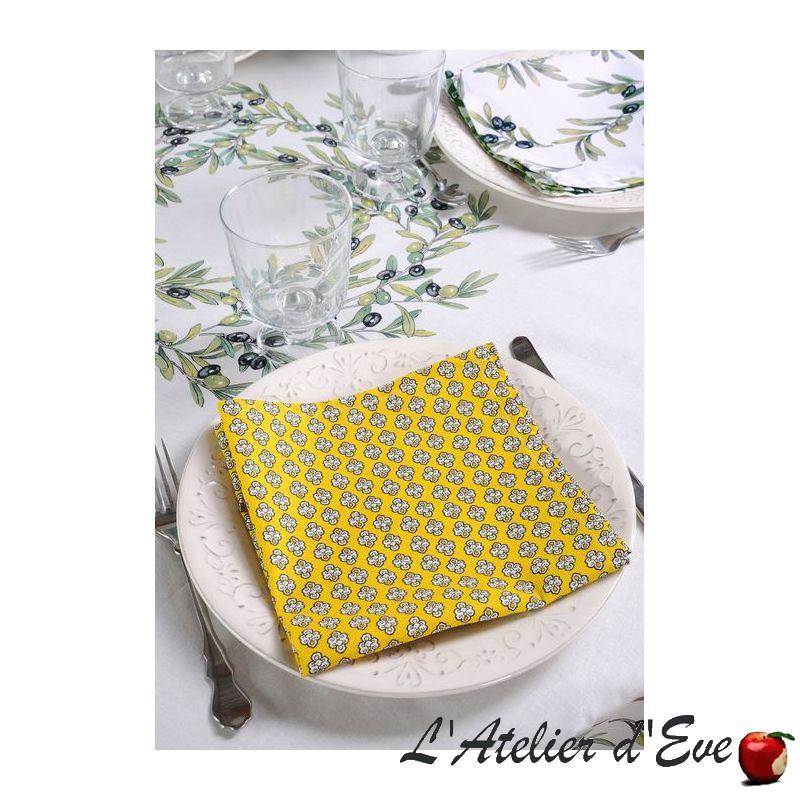 """""""Maillane soleil"""" 6 serviettes de table provençales 50x50cm tissu coton Valdrôme"""