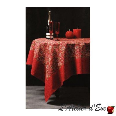 """Colombe rouge"" Nappe carrée 160x160cm coton provençal Valdrôme Made in France"
