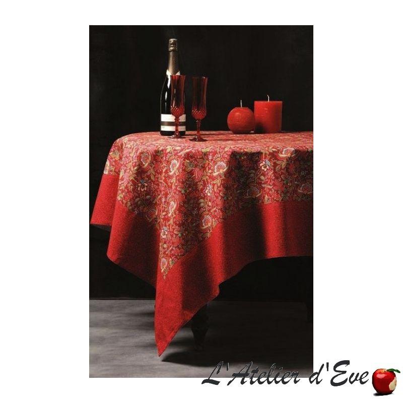 """Colombe rouge"" Nappe carrée 160x160cm coton provençal Valdrôme Made in France"