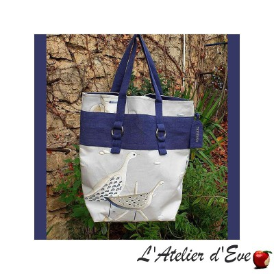 Handbag flight of butterflies ecru and washed linen - Thevenon