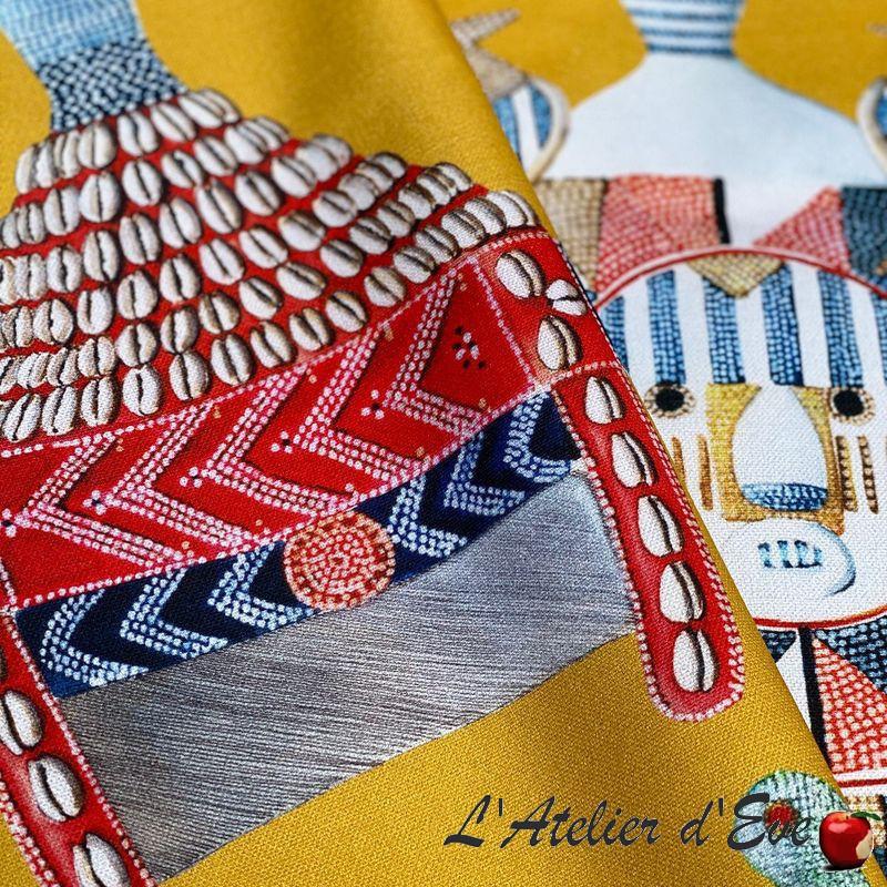"""Cotonou"" Rideau jaune Made in France Thevenon"