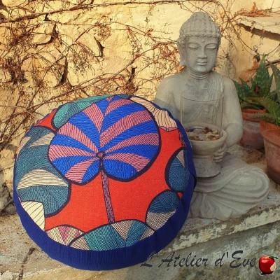 """Zafu"" Idris red and blue Meditation cushion Made in France L'Atelier d'Eve"