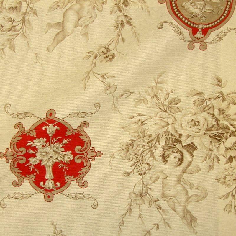 Justine (6 coloris) Tissu ameublement toile de jouy grande largeur motif médaillon Thevenon