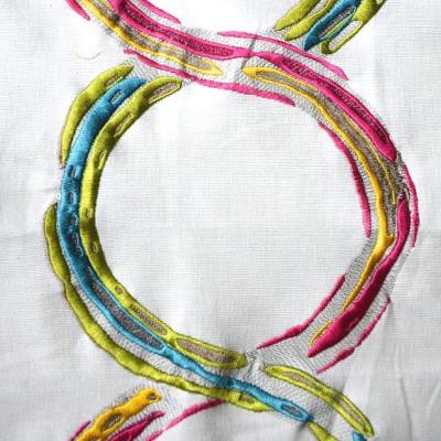 Arty canvas multicolored embroidered furniture Thévenon