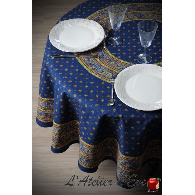 """Galon bleu"" enduit Nappe ronde provençale Valdrôme Made in France"