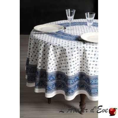 """Galon blanc-bleu"" enduit Nappe ronde provençale Valdrôme Made in France"