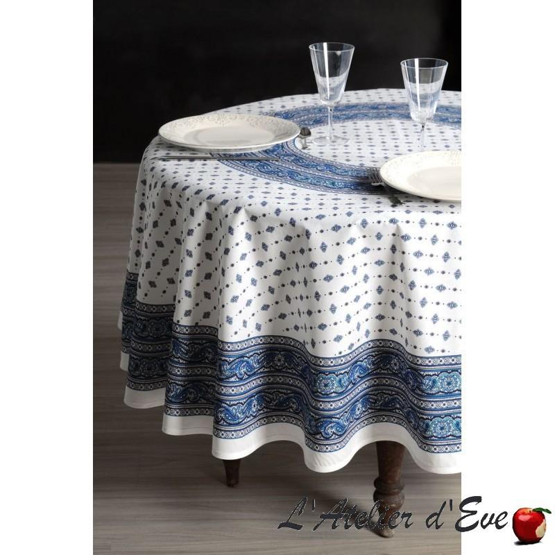 """Galon blanc-bleu"" Nappe ronde enduite Valdrôme Made in France"