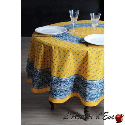"""Galon jaune"" enduit Nappe ronde provençale Valdrôme Made in France"