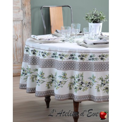 """""""Garance naturel"""" Round tablecloth coated in Provencal cotton Valdrôme Made in France"""