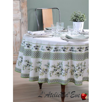 """""""Garance olive"""" Round tablecloth coated in Provencal cotton Valdrôme Made in France"""