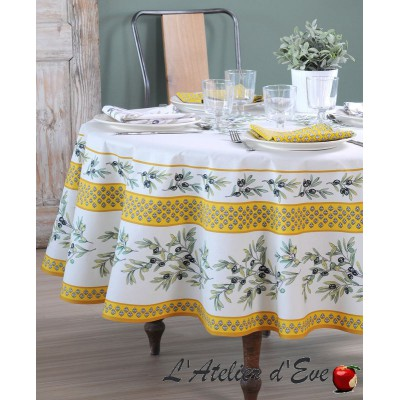 """""""Garance soleil"""" Round tablecloth coated in Provencal cotton Valdrôme Made in France"""