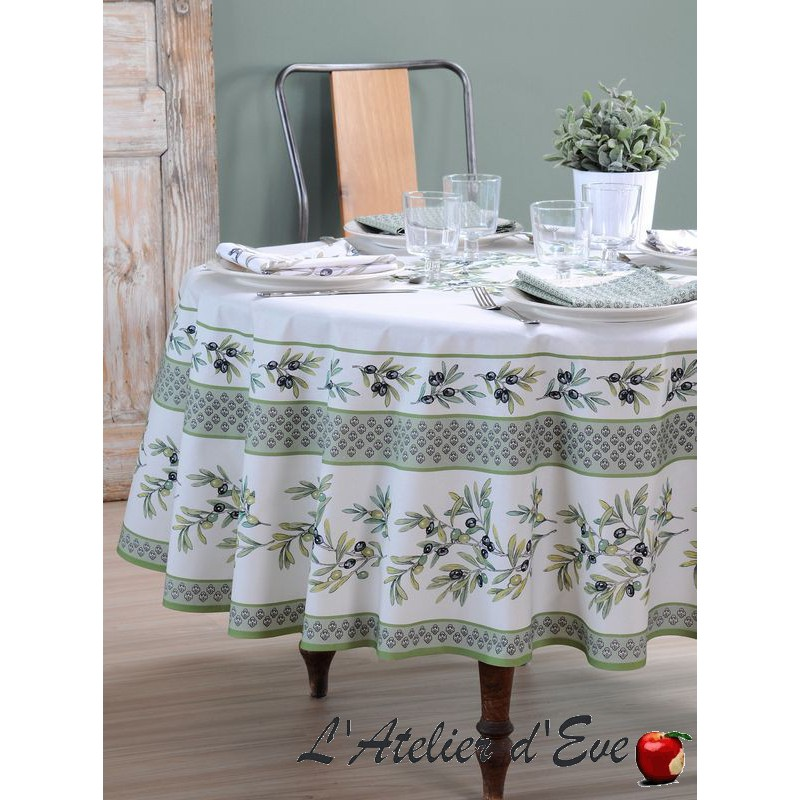 """""""Yellow ribbon"""" Provencal cotton tablecloth and square Valdrôme Made in France"""
